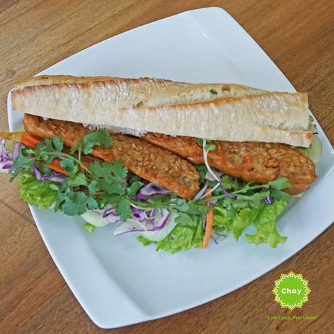 Lemongrass grilled tofu and tempeh baguette (V)