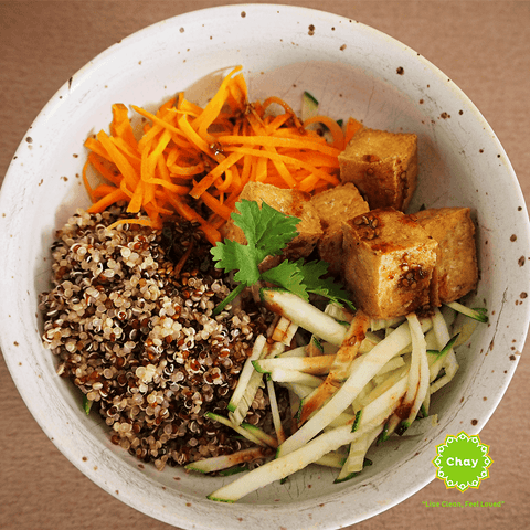 Quinoa, couscous salad with tofu & vegetables in teriyaki sauce (V, GF)