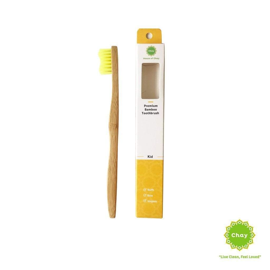 Bamboo Toothbrush Kid [PD129] Yellow / No handmade bag PD129.2