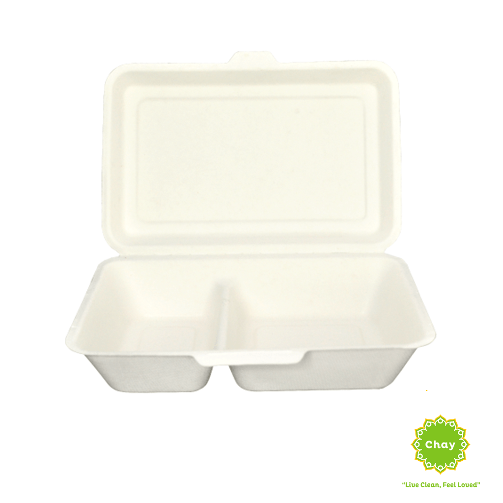 Biodegradable Bagasse Box/Plate (10 pcs) 8in/1000ml 2 compartment box