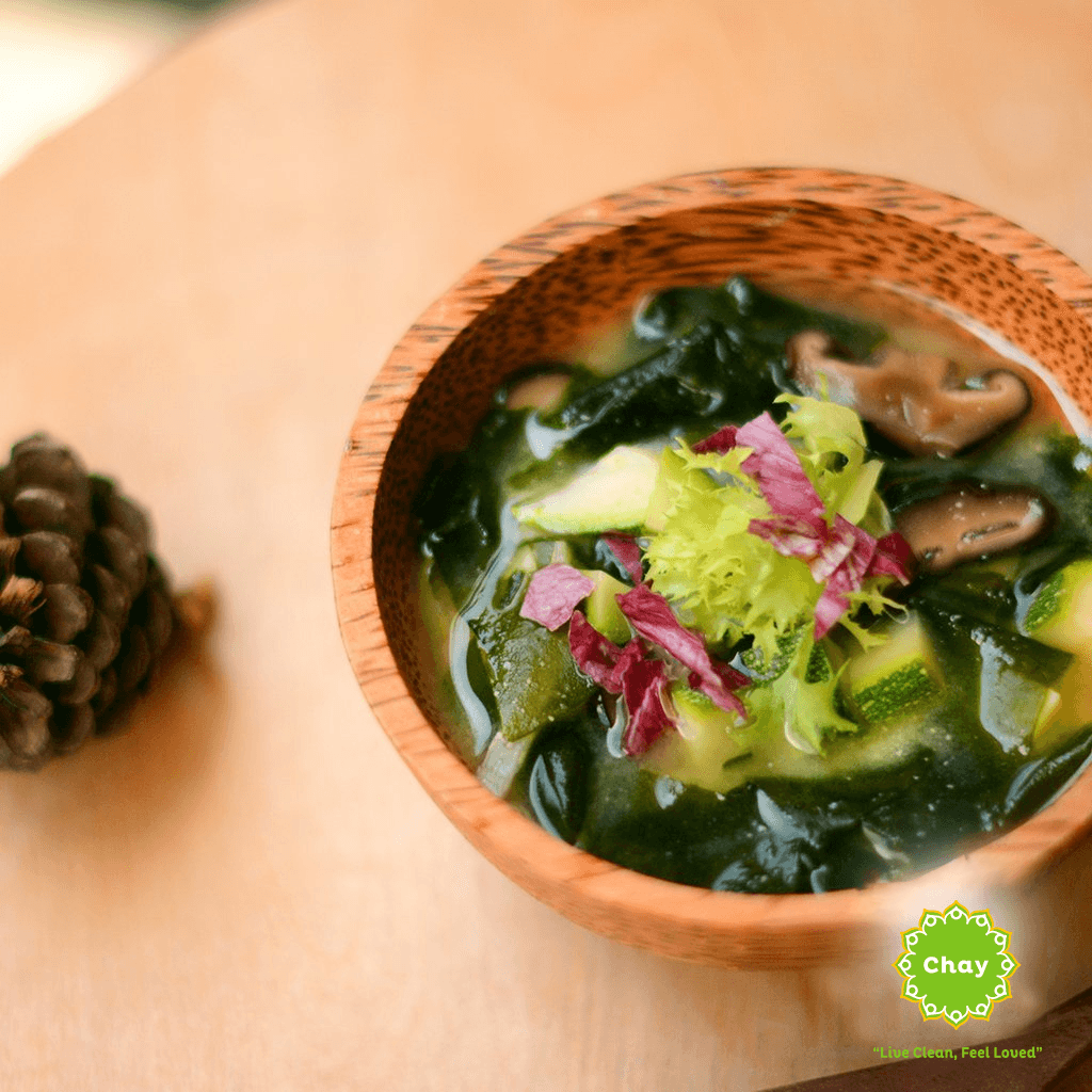 [CB04] Combo Cashew Nut Brown Rice Noodles + Wakame Miso Soup (V, GF)