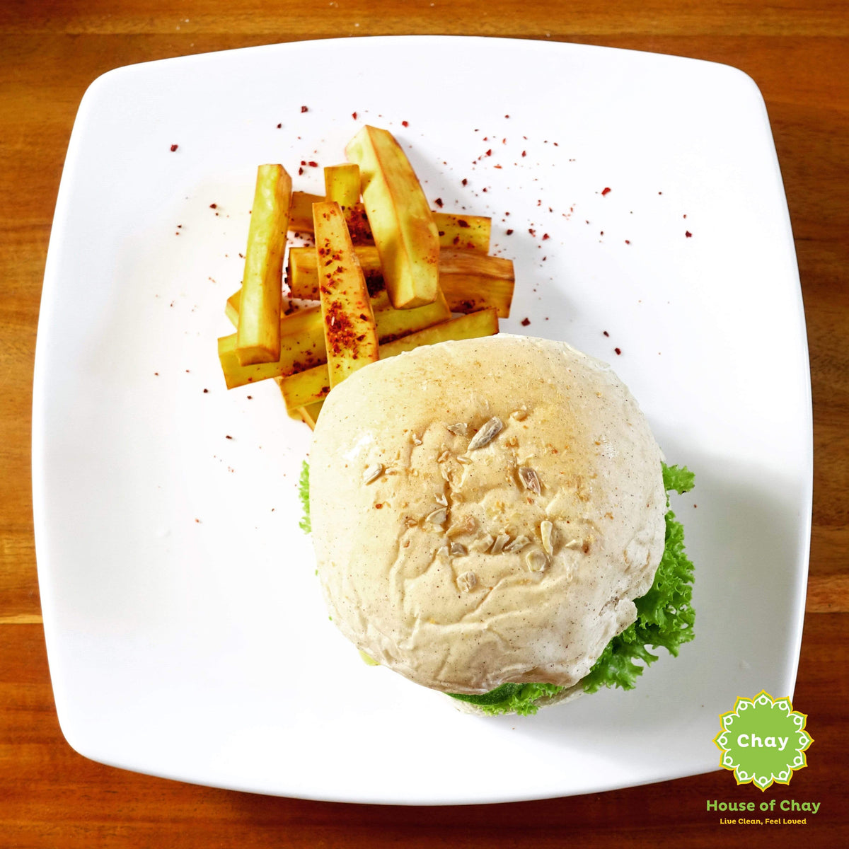 Chickpea Burger & Baked Sweet Potato Fries (V. Opt.) BG05