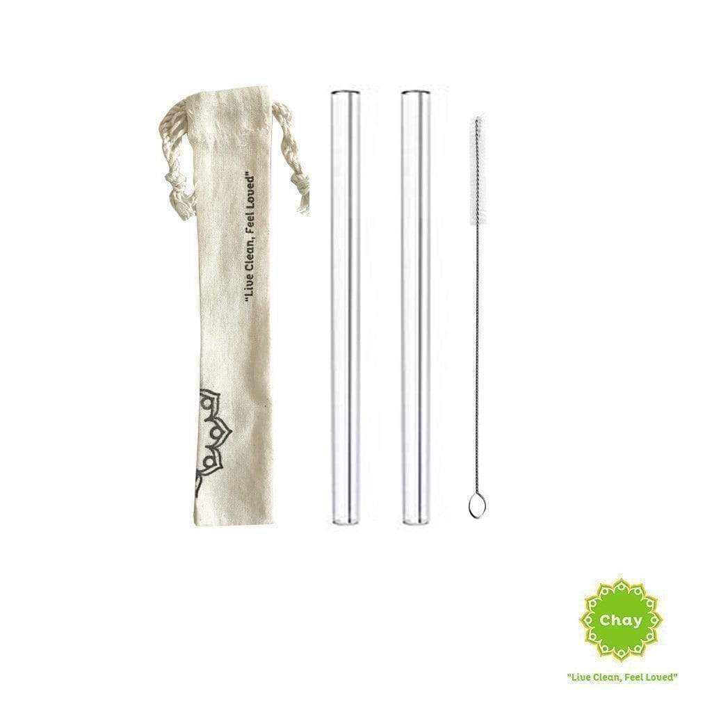 Clear Glass Straw Set [PD077] 2 straw + 1 brush + 1 handmade bag / 12mm PD077