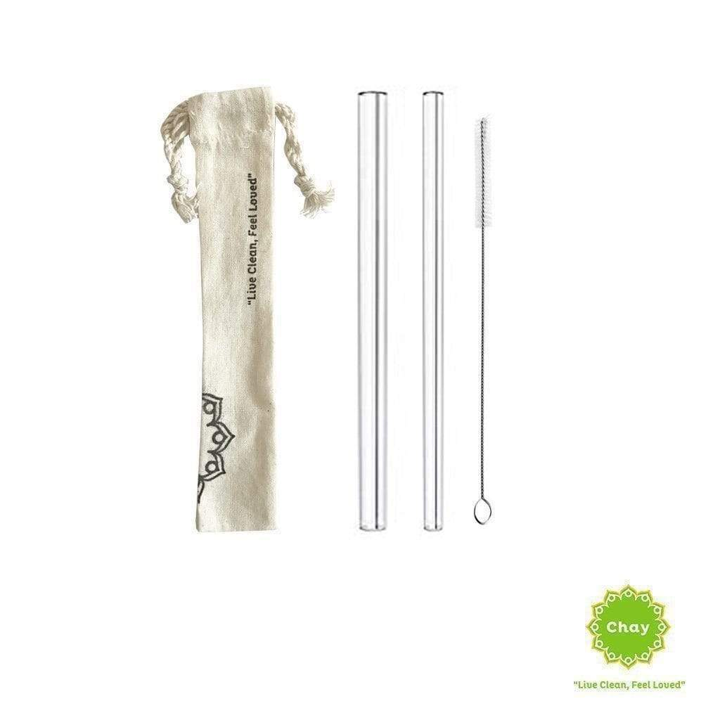 Clear Glass Straw Set [PD077] 2 straw + 1 brush + 1 handmade bag / 7mm & 12mm PD077