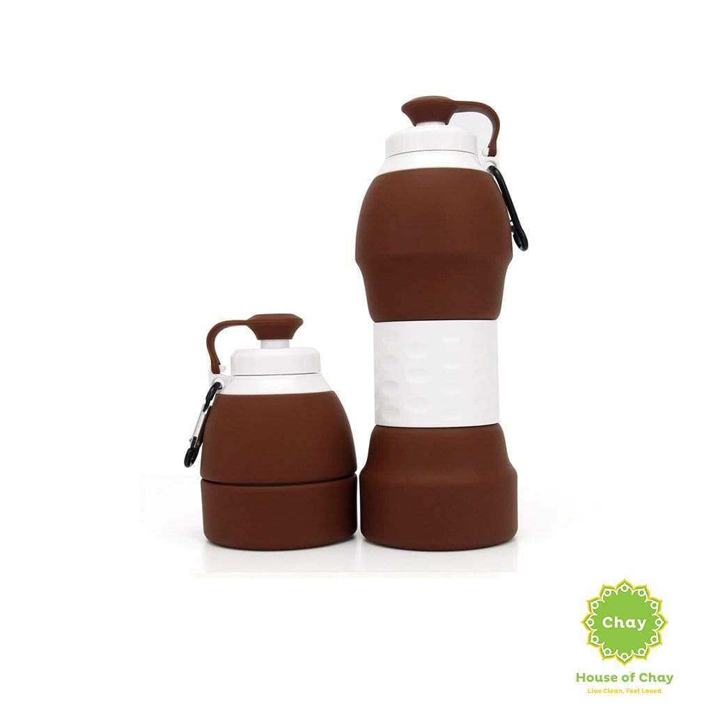 Colapsible Silicon Bottle (580ml) Calm Brown