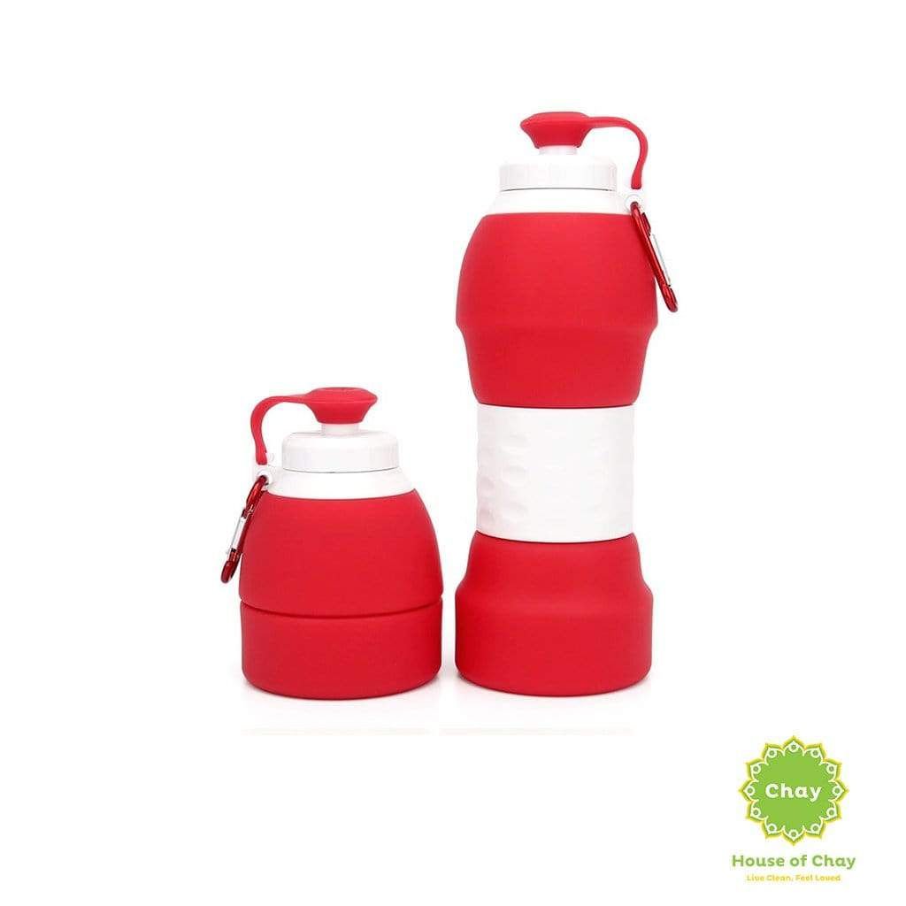 Colapsible Silicon Bottle (580ml) Hot Red