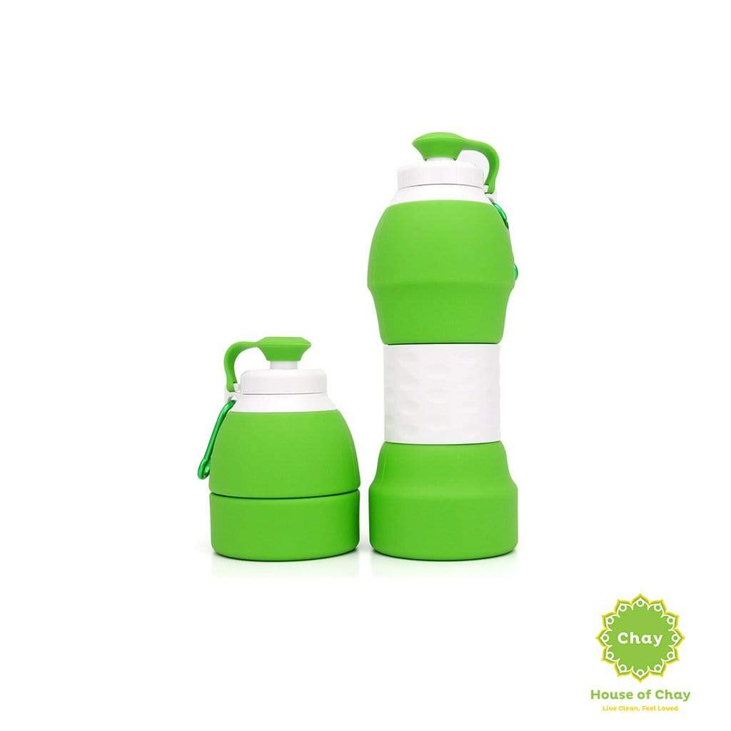 Colapsible Silicon Bottle (580ml) Leaf Green