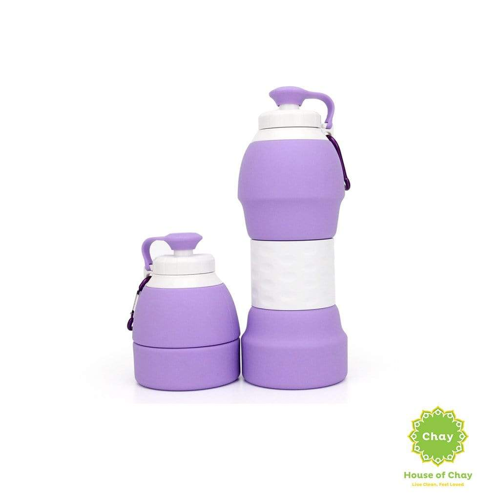 Colapsible Silicon Bottle (580ml) Light Purple