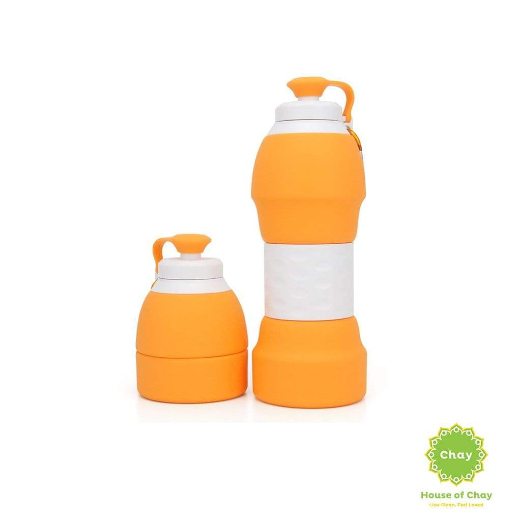 Colapsible Silicon Bottle (580ml) Orange