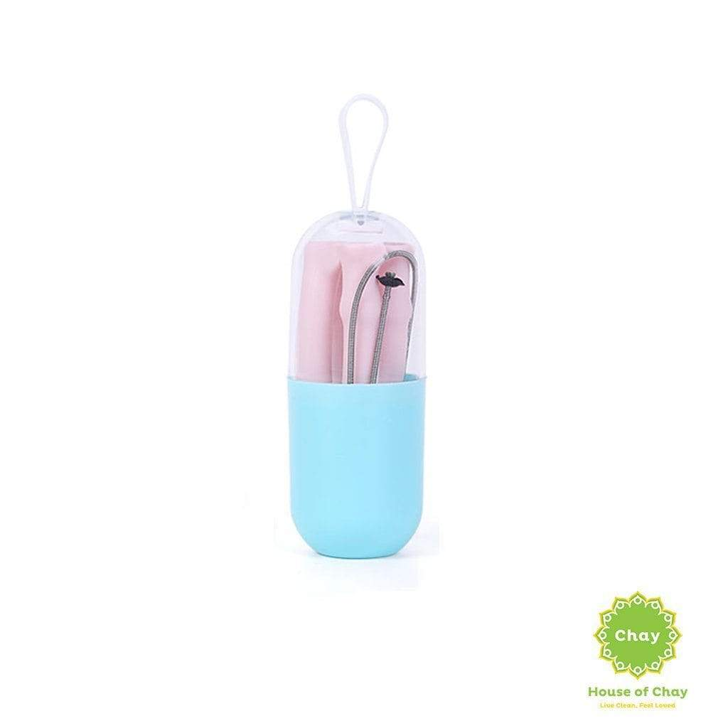 Colapsible Silicon Straw Set [PD326-9] Dusty Pink
