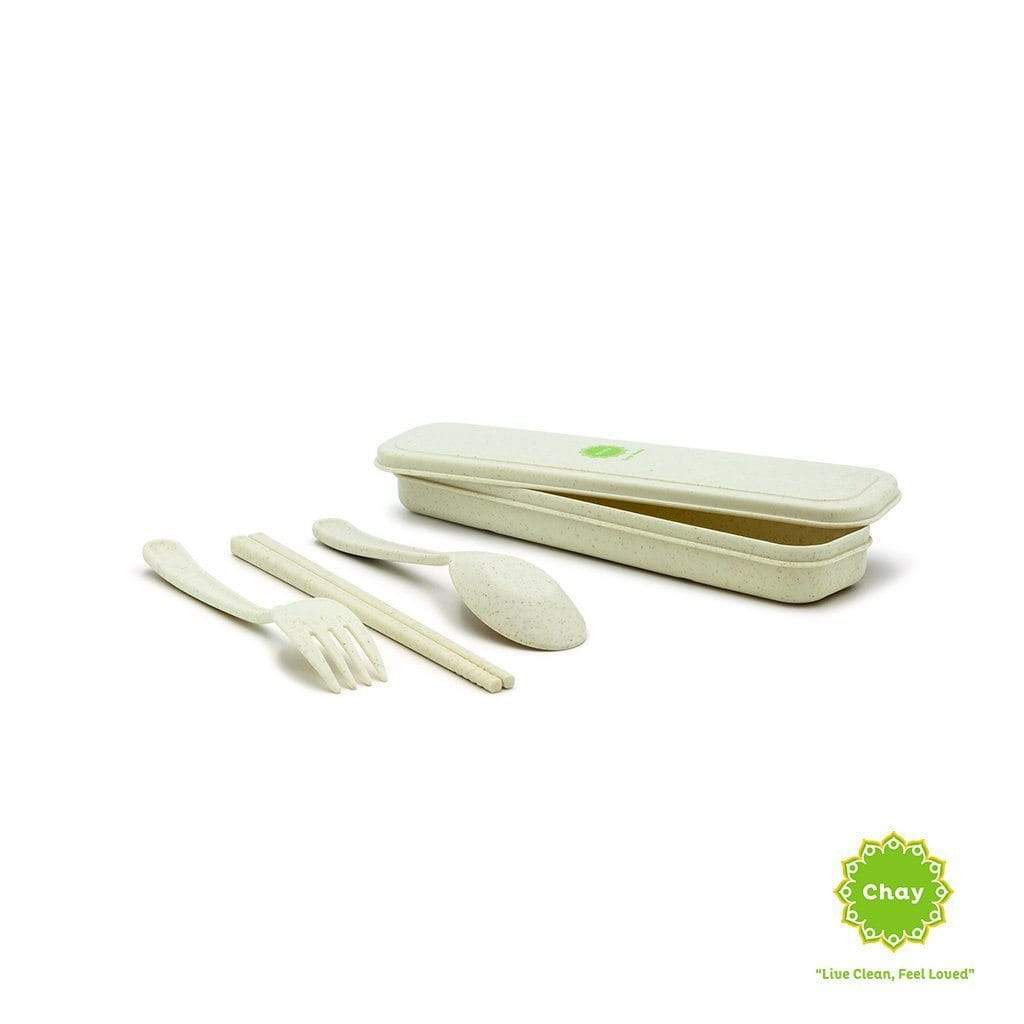 Colourful Reusable Biodegradable Wheat Straw Cutlery Set [PD078] Gentle cream PD078.2