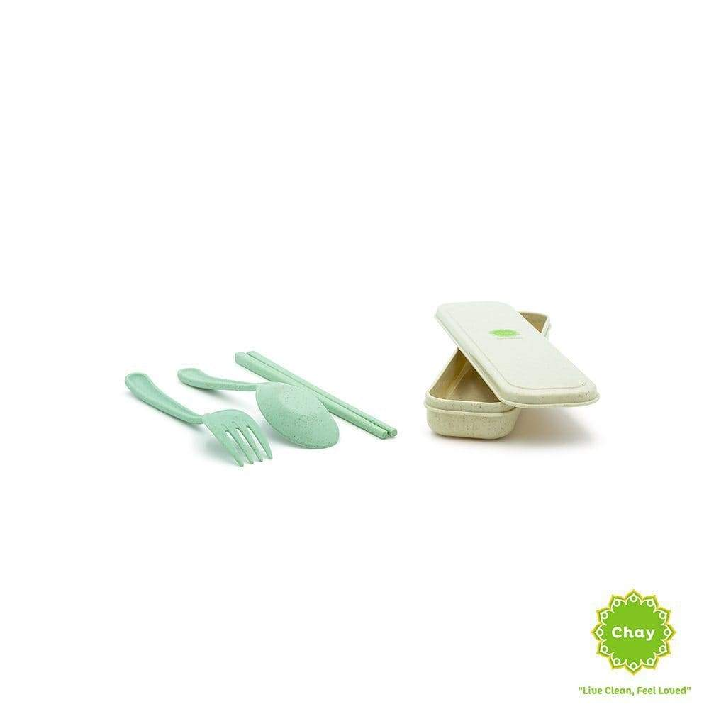 Colourful Reusable Biodegradable Wheat Straw Cutlery Set [PD078] Happy blue PD078.3