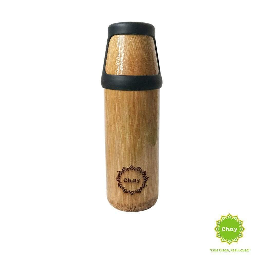 One piece bamboo bottle YOGA en Not just bamboo 380ml Black