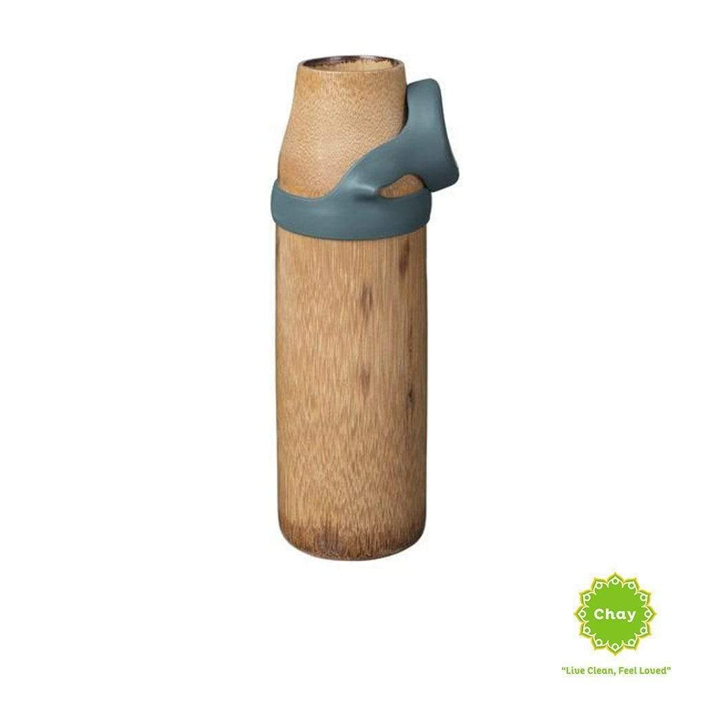One piece bamboo bottle YOGA en Not just bamboo 380ml Blue