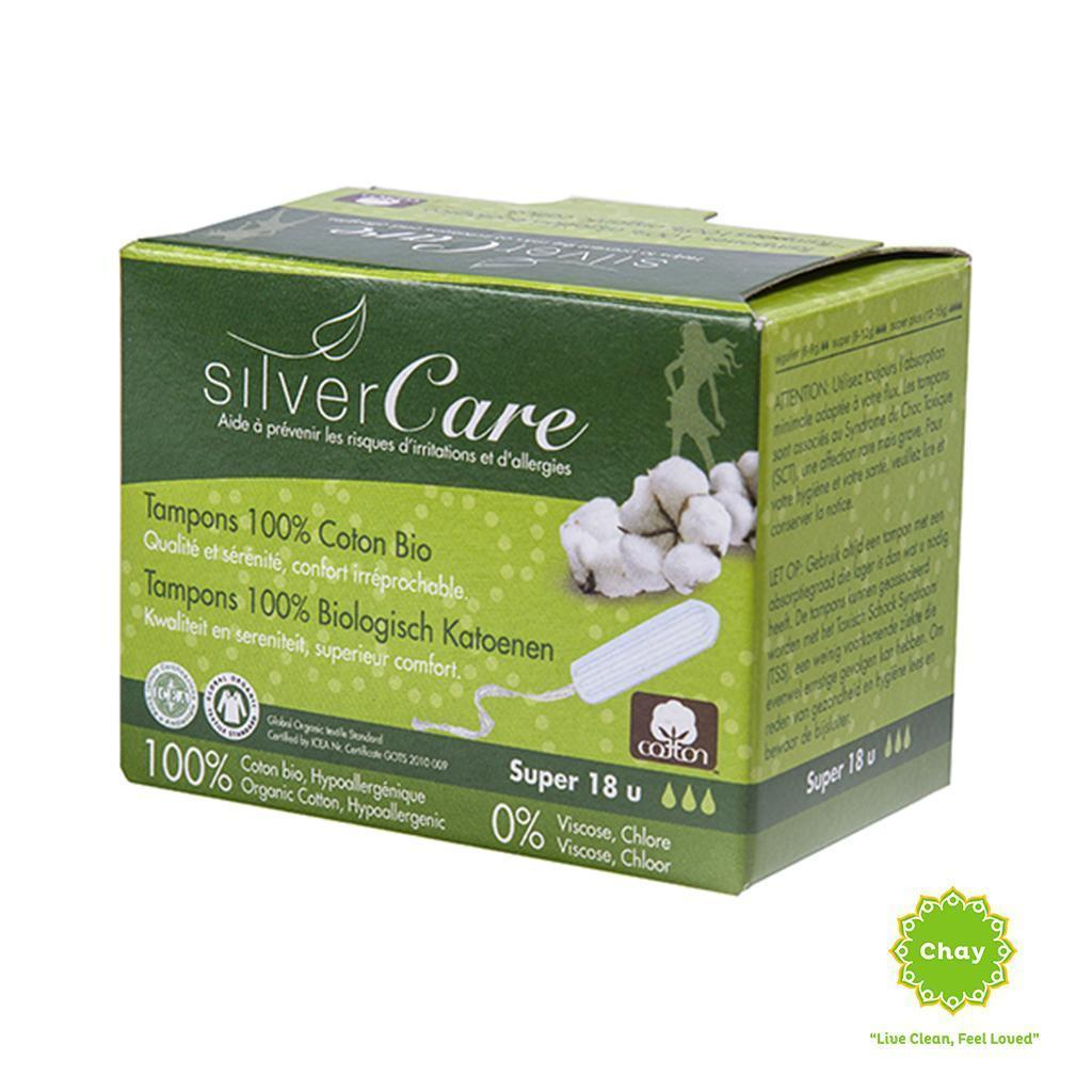 Organic Tampon 3 drops Silvercare Super (18 pieces) en House of Chay