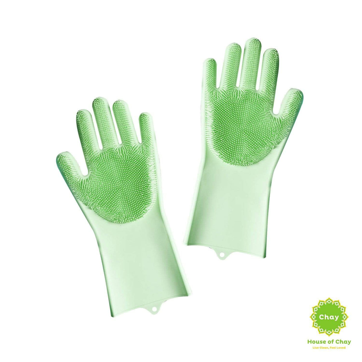 Reusable Silicone Gloves With Wash Scrubber green
