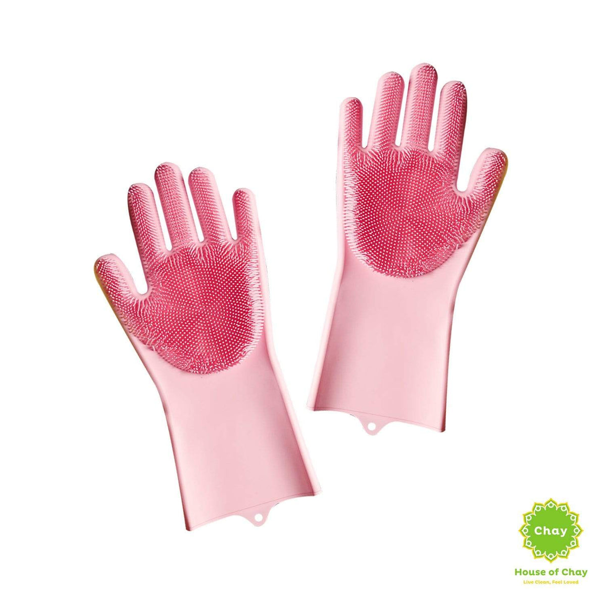 Reusable Silicone Gloves With Wash Scrubber pink