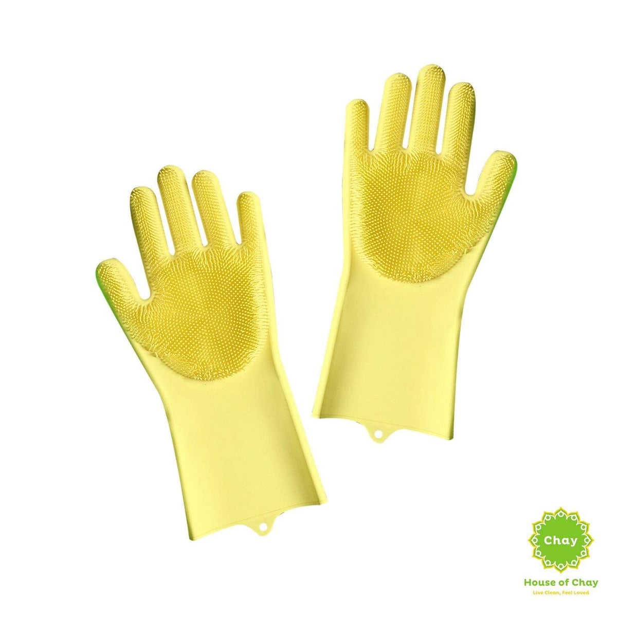 Reusable Silicone Gloves With Wash Scrubber yellow
