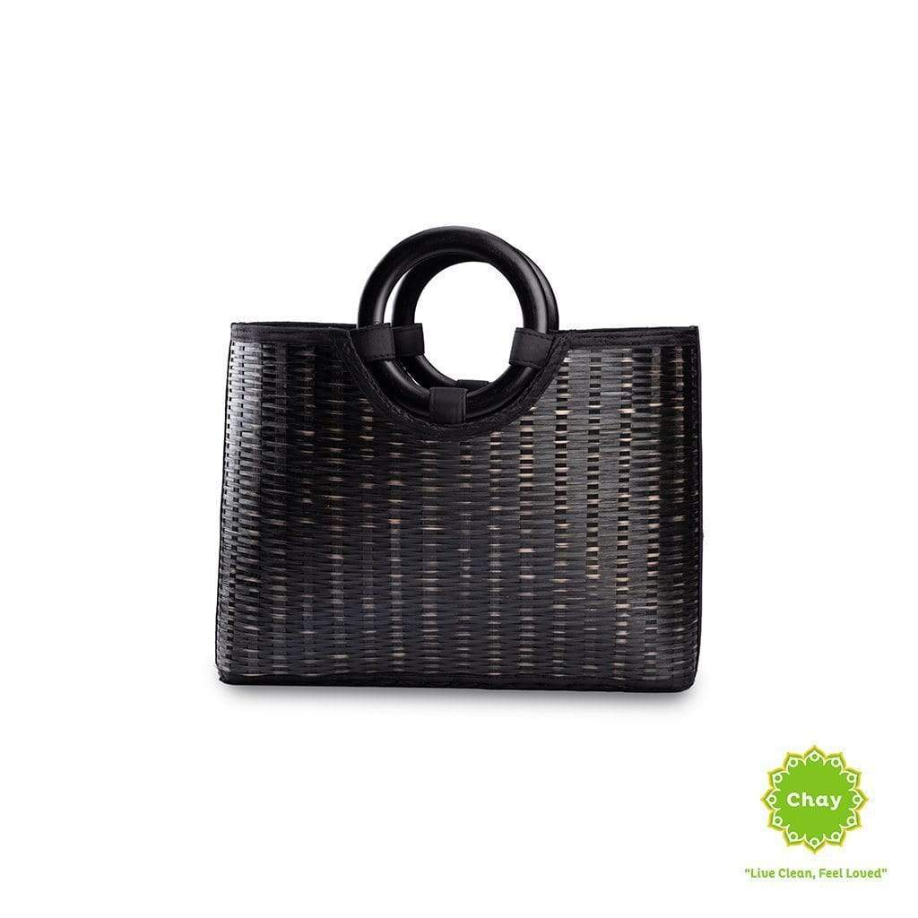 Square Rattan Bag In Black en House of Chay
