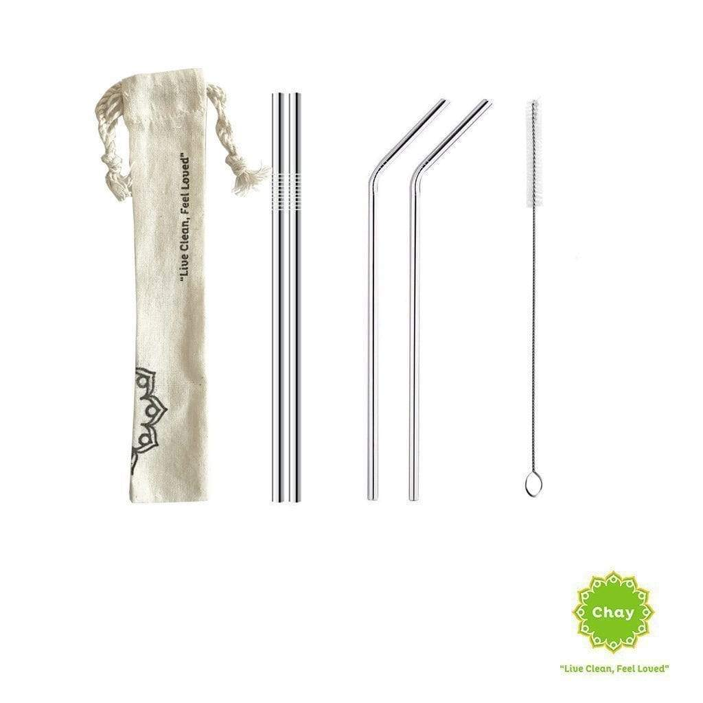 Stainless steel straw set en House of Chay 2 normal straw + 2 bent straw