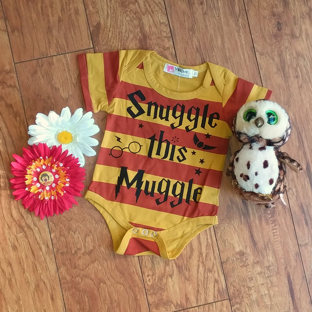 Red and Gold Striped Snuggle Baby Romper