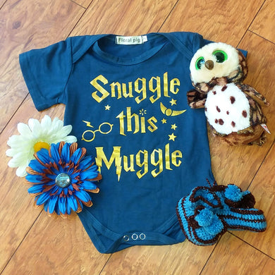 Snuggle Blue and Bronze Baby Romper