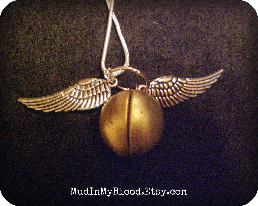 Golden Locket Necklace with Silver Wings