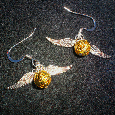Gold Hook Earrings with Silver Wings