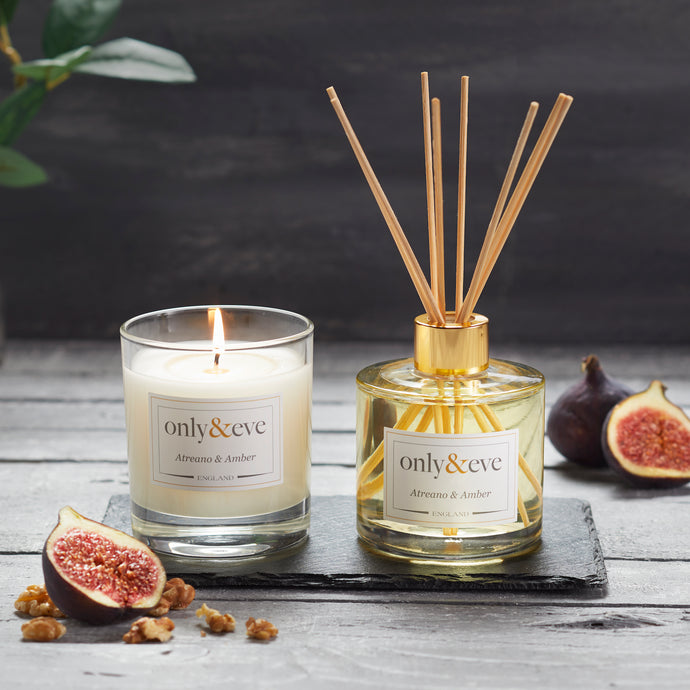 Atreano & Amber Luxury Scented Candle and Reed Diffuser