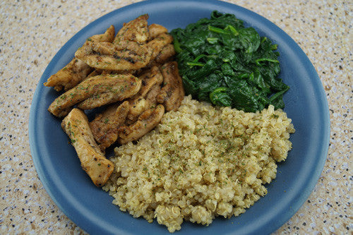 Pan-Fried Pork with Quinoa & Spinach