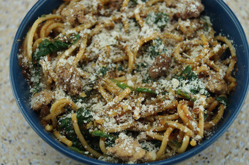 No-Guilt Pasta with Spinach & Ground Turkey Skillit Cooking