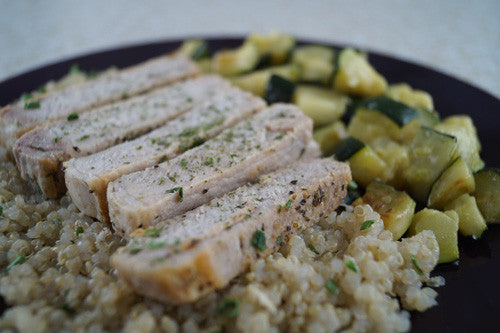 Pan-Fried Pork Chop with Sauteed Zucchini & Quinoa