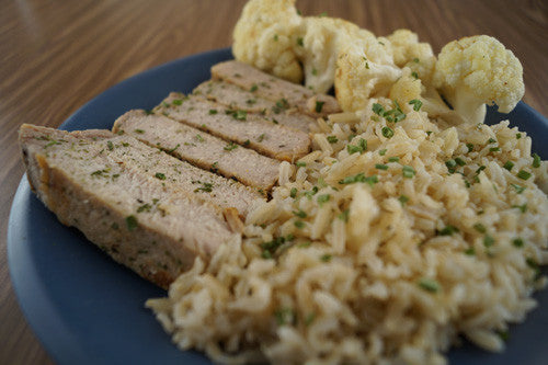 Teriyaki Plate with Pork, Cauliflower & Rice