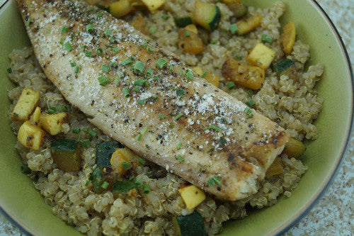 Pan-Cooked Cod with Squash and Zucchini Fried Quinoa