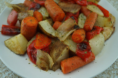 Hassle-Free Garlic-Rosemary Roasted Potatoes, Onions, Peppers & Carrots