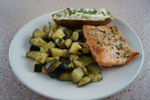 Easy & Healthy Pan-Cooked Salmon & Zucchini with a Baked Potato