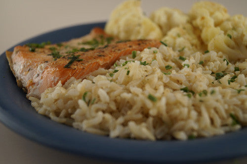 Pan-Cooked Salmon with Sauteed Cauliflower & Rice