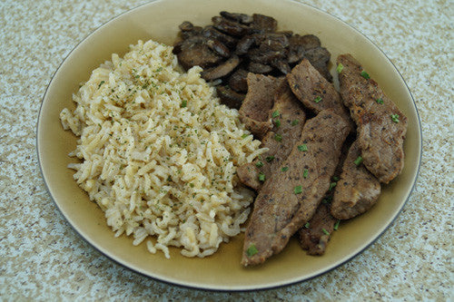 Quick & Easy Steak, Rice & Mushrooms