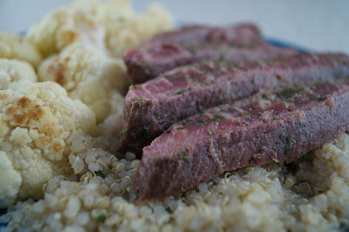 Garlic-Rosemary Steak with Quinoa & Cauliflower