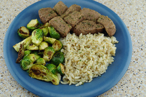 Steak with Balsamic-Glazed Brussels Sprouts & Rice