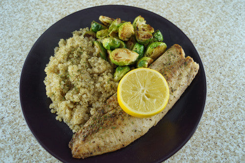 Pan-Fried Cod & Brussels Sprouts with Quinoa