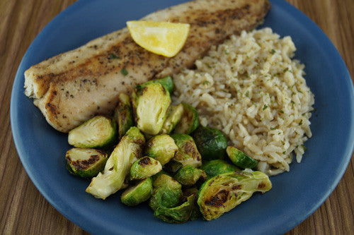 Garlic-Lemon Cod & Sprouts with Rice