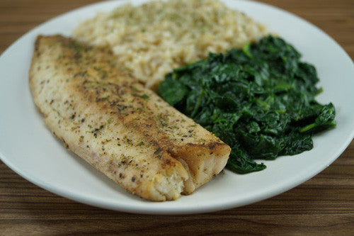Pan-Cooked Cod with Spinach & Rice