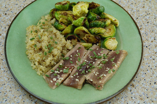 Sesame-Ginger Ahi Tuna & Sprouts with Quinoa
