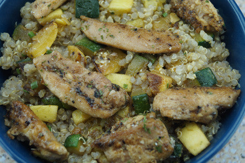 Pan-Seared Chicken with Squash and Zucchini Fried Quinoa