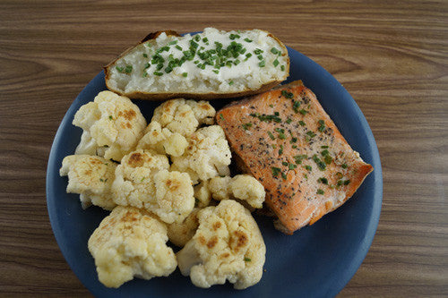 Pan-Seared Salmon with Sauteed Cauliflower & Baked Potato