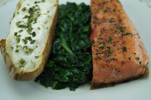 Seared Salmon with Sautéed Spinach & Baked Potato