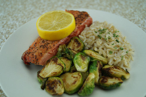 Pan-Cooked Salmon & Sprouts with a Side of Rice
