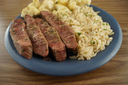 Pan-Seared Steak with Cauliflower & Rice