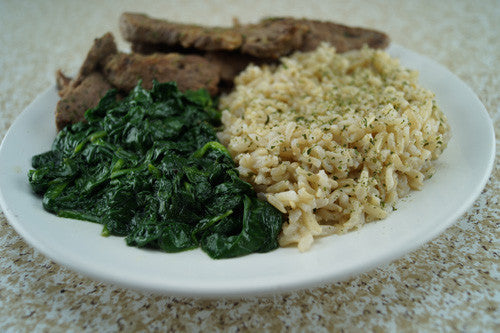 Pan-Seared Steak with Spinach & Rice